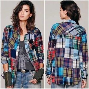Free People Patchwork Pattern Long Sleeve Shirt